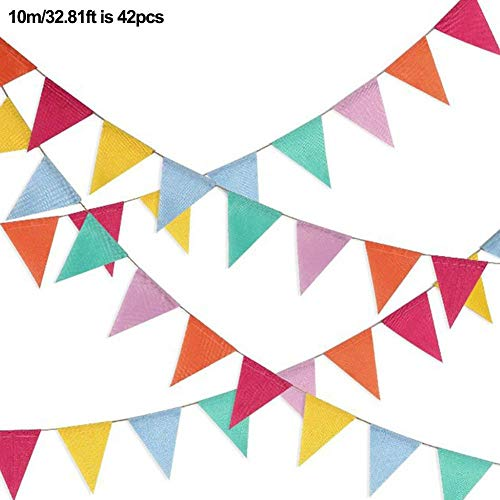 Rainrain27 Bunting Banner 6-Color Party Bunting Triangle Flag Banner String Pennant Flags Hanging Decoration for Wedding Birthday Baby Shower Christmas Halloween Party Accessories Ornaments -