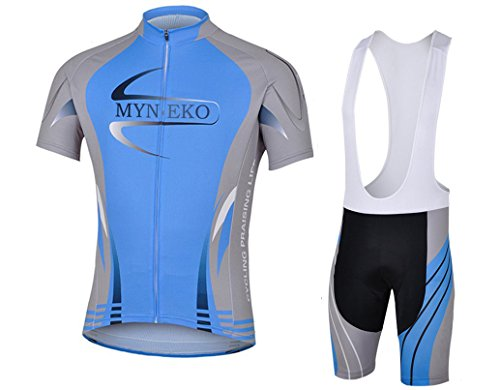MYNEKO Mens Short Sleeve Cycling Jersey 3D Padded Bib Short Set,Blue,Medium (Jersey Cycling Set compare prices)