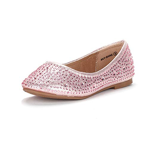 DREAM PAIRS Little Kid Muy-Shine Pink Suede Girl's Mary Jane Ballerina Flat Shoes - 2 M US Little Kid -