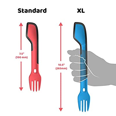 morsel Spork - Camping and Backpacking Lunch Gear Accessory - USA Made 5 in 1 Cutlery Set - Spoon, Fork, Knife and Spatula with Rubber Edge