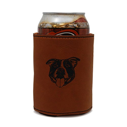 (MODERN GOODS SHOP Leather Can Cooler With Staffordshire Bull Terrier Engraving - Oil, Stain, and Water Resistant Beer Hugger - Standard Size Beer and Soda Can Sleeve)