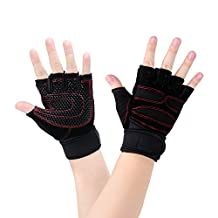 Exercise Gloves - Sport Mitten Gloves for Men Fitness Heavy Duty Training Weight Lifting Croffit Palm Workout Half Finger Gym Boxing Gloves with Wrist Support