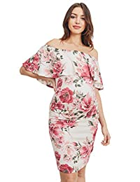 Hello MIZ Women's Floral Ruffle Off Shoulder Maternity Dress - Made in USA