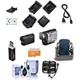 Sony HDR-AS50 Full HD Action Cam RM-LVR3 Live View Remote - Bundle 16GB MicroSDHC Card, Camera Case, Cleaning Kit, Memory Wallet, SD Card Reader