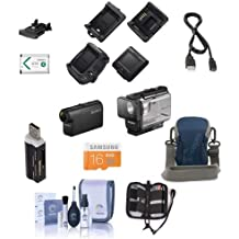 Sony HDR-AS50 Full HD Action Cam with RM-LVR3 Live View Remote - Bundle with 16GB MicroSDHC Card, Camera Case, Cleaning Kit, Memory Wallet, SD Card Reader