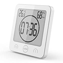 Zmucen Waterproof Digital Clock, Bathroom Shower Clock Timer with Big LCD Display, Humidity Temperature Display, Wall Clock Timer for Bathroom Shower Makeup Cooking (White)