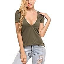 Meaneor Women's Deep V T-shirt Summer Short Sleeve Loose Casual Tee