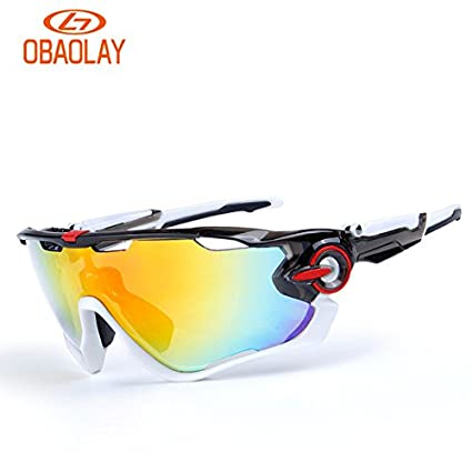e54325f8b9 0092707   Obaolay 2017 Polarized Cycling Glasses Bike Outdoor Sports  Bicycle Sunglasses Goggles 5 Groups of Lenses Eyewear for Men   Women   Amazon.in  Home ...