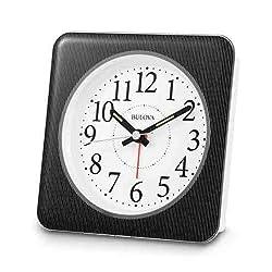 Bulova B1869 EZ-View Alarm Clock, White Case with Pinstripe