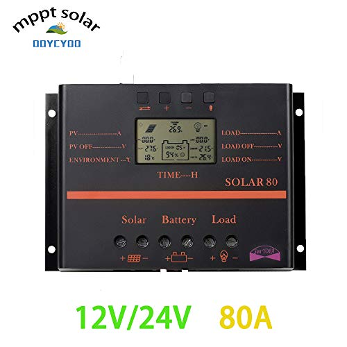 (OOYCYOO 80A PWM Solar Charge Controller,80 amp Solar Panel Charge Regula 12V 24V Auto,12V/960W, 24V/1920W Input and Load TimerUsed for Lead-Acid Batteries)