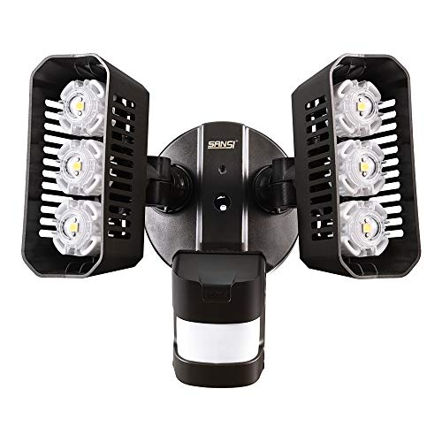 SANSI LED Outdoor Motion-Activated Security Lights, 27W (200W Equiv.) 2700lm, 5000K Daylight, Waterproof Flood Light with Adjustable Head, 5 Year Warranty, Bronze