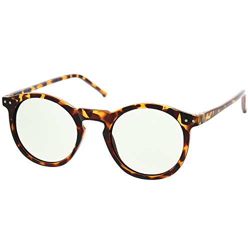 Vintage Inspired Round Horned P-3 Sunglasses with Key Hole Nose (Tortoise-Brown, - Key Hole Vintage