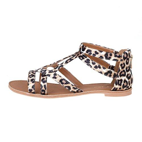 Paires De Rêve Femmes Estivales À La Mode Impression Gladiateur Sandales Plates Sapha-léopard