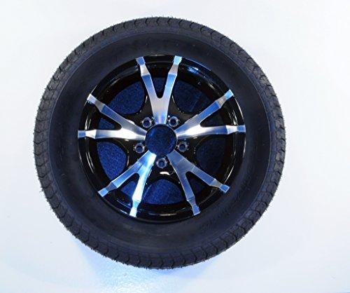 Trailer Tire On Rim 60213 ST185/80R13C 13X5.5 5-4.5 Aluminum Black V-Spoke