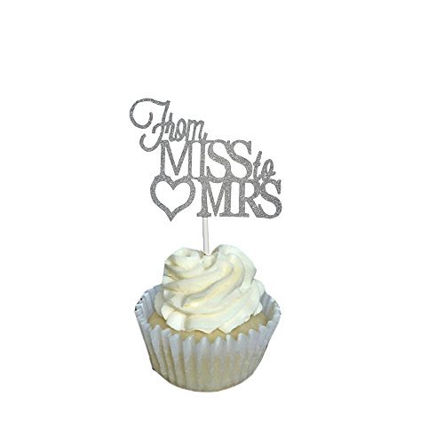 BERON Pack of 20 Glitter From Miss to Mrs Wedding Cupcake Toppers Silver