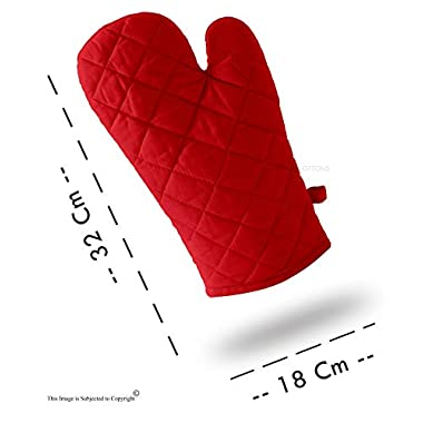 DM COOL COTTON - Oven Gloves Set (Red) (2 Oven Gloves) (Heat Proof) 7