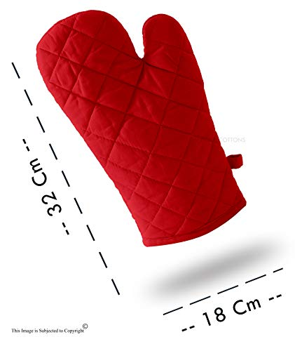 DM COOL COTTON - Oven Gloves Set (Red) (2 Oven Gloves) (Heat Proof) 2