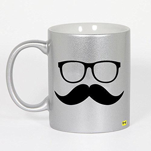 Mustaches Coffee Mugs (Hamee Premium Printed Best funny and inspirational gift Silver Ceramic Tea / Coffee Cup Mug 11 Oz. Silver