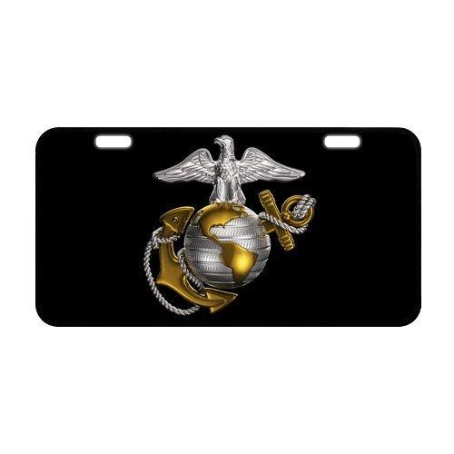 US Marine Corps License Plate - United States Marines Logo (Gloss Black Fade Frame)