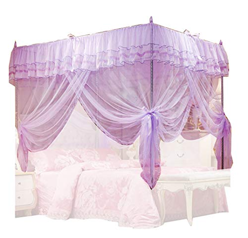 Uozzi Bedding Mosquito Net Bed Canopy-Lace Luxury 4 Corner Square Princess Fly Screen, Indoor Outdoor(Purple, Twin)
