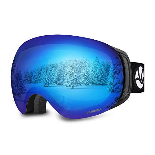 VANRORA OTG Ski Goggles, Snowboard Goggles (Black Frame/Grey Lens with Revo Blue Coating, VLT 10.5%)