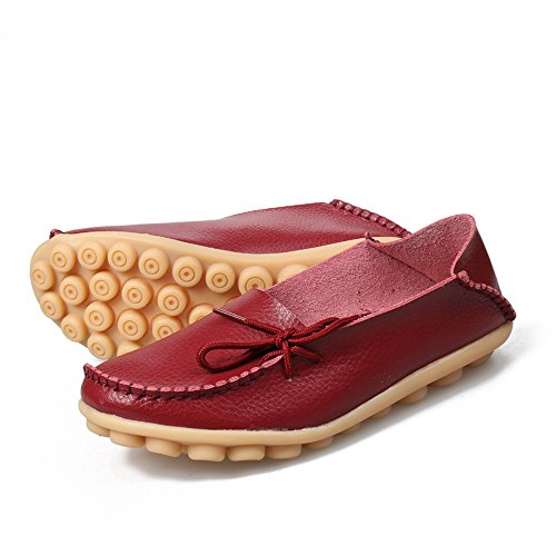 Flat Loafers SUNROLAN up Cowhide Shoes Driving Slipper Womens Lace Wine Leather Casual Slip Red On vrHW4Zvz