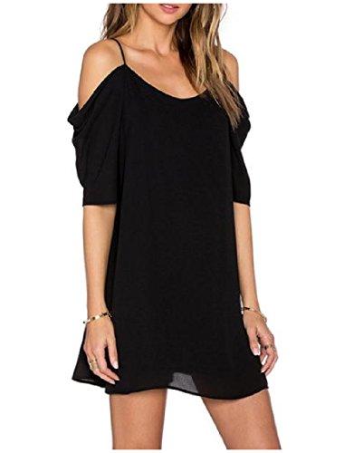 Épaule Confortable Pour Femmes Mousseline De Solide, Plus La Taille Mini-harnais Robe As1