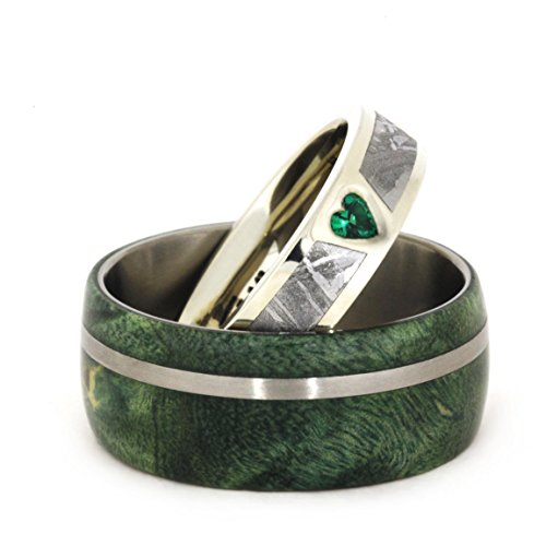 Created Emerald, Gibeon Meteorite 14k White Gold Ring and Green Box Elder Burl Wood Titanium Band, Couples Ring Set, M8.5-F9.5 by The Men's Jewelry Store (Unisex Jewelry)