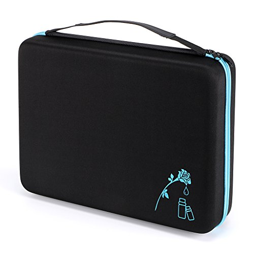 Hipiwe 108 Essential Oils Carrying Case Holds 5ml, 10ml, 15ml Bottles Hard Shell Exterior EVA Essential Oils Storage Organzier Bag with Foam Insert and Carrying Handle (Black+Blue 108) -