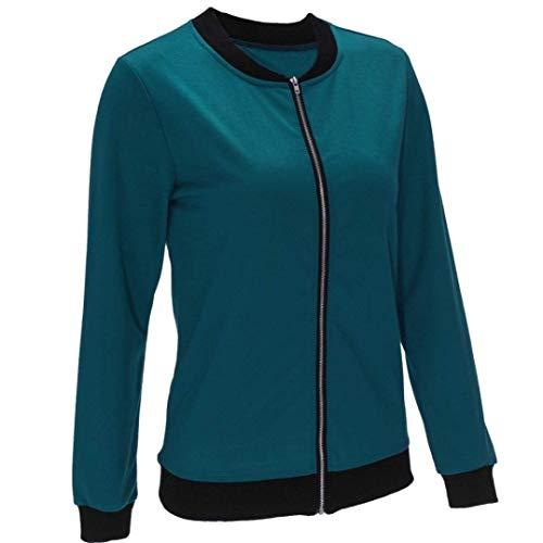 Exteriores Sólido Blau Mujer Retro Chaqueta Deportiva Casuales Moda Elegantes Outwear Prendas Cremallera Manga Primavera Color Otoño Con Ligeros Largo Zd1dwTqUx