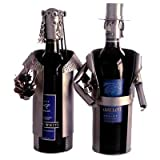 The Bride and Groom Set of Recycled Steel and Copper Wine Bottle Caddies are Hand Crafted in Germany - 6053-LI