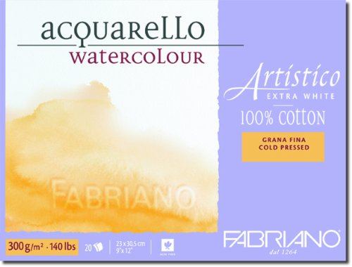Fabriano Artistico 140 lb. Cold Press 20 Sheet Block 9x12