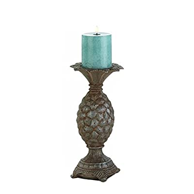 Small Welcome Pineapple Candleholder 10 Inch Tropical Style Pillar Stand