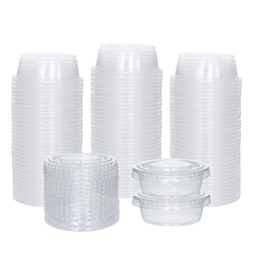 Galashield Plastic Disposable Souffle Cups Salad Dressing Container to Go with Lids Portion Cups [100 Sets - 1.5 oz.] ()