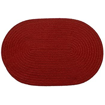 Amazon Com Solid Brilliant Red Braided Rug Size Oval 2