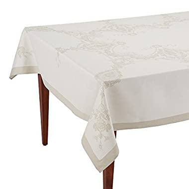 Luxe Versailles Naturel French Jacquard Tablecloth, 63 x 98 (6-8 people)