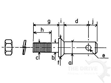DT Parts Unterlenkerbolzen Kat.2 zum Verschrauben /Ø28mm L. 146mm M22x1.5 B:28mm