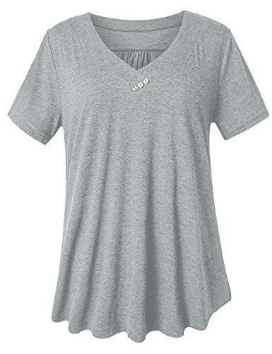 FOLUNSI Women's Casual V Neck Plus Size T Shirts Summer Tops Tee Light Gray 2XL - Floral Embellished Tee