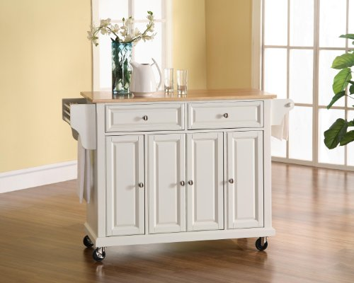(Crosley Furniture Rolling Kitchen Island with Natural Wood Top - White)
