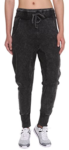 FORBIDEFENSE Women's Casual Pants Cotton Drop Crotch Harem For Jogger Athletic Fit Activewear Trousers,Tiny Black Sw,X-Large