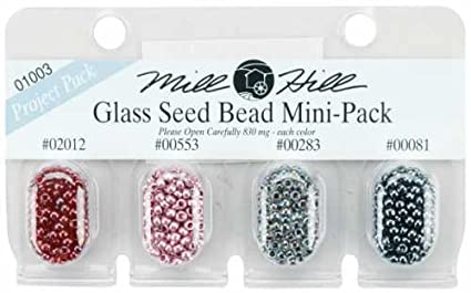Mill Hill GBMPK-01003 GBMPK-1003 Beads and Bead Assortments Glass Seed Mini Packs 830mg 4/Package-2012, 553, 283, 81