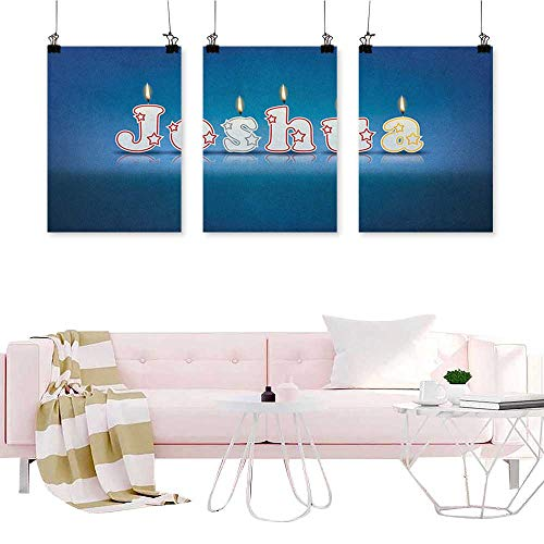 (J Chief Sky Joshua,Wall Art Triptych Festive Font Design as Burning Candles Surprise Birthday Party Celebration Living Room Home Office Decorations W16 x L32)