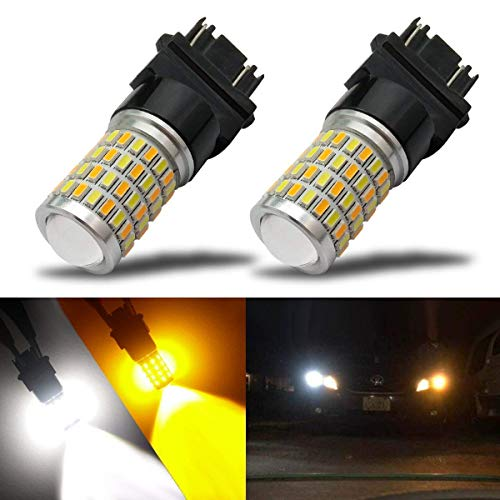 iBrightstar Newest Super Bright 3157 4157 3155 3457 Switchback LED Bulbs with Projector Replacement for Daytime Running Lights / DRL and Turn Signal Lights,White/Amber ()
