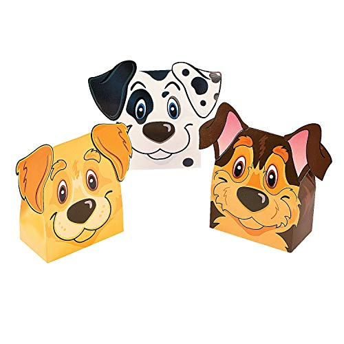 Fun Express Puppy Party Favor Boxes | 12-Piece Set | Great for Kids Birthday Party and Halloween -