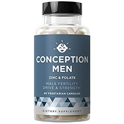 Conception Men Fertility Vitamins - Drive Testosterone, Sperm Motility & Strength, Healthy Volume Production, Optimal Count - Zinc, Folate, Ashwagandha - 60 Vegetarian Soft Capsules