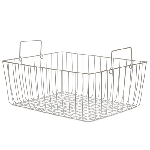 The Lucky Clover Trading White Rectangular Wire Basket with Swing Handle - Large