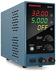 HANMATEK HM305 DC Power Supply Variable, 0-30V/0-5A Adjustable Bench Power Supply with 4-Digit LED Display, Display Power, Lock Function(Button), Protective Function, One Key Switch Control