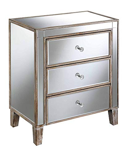 Convenience Concepts Gold Coast 3 Drawer Mirrored End Table, Weathered White (White Furniture Mirrored)
