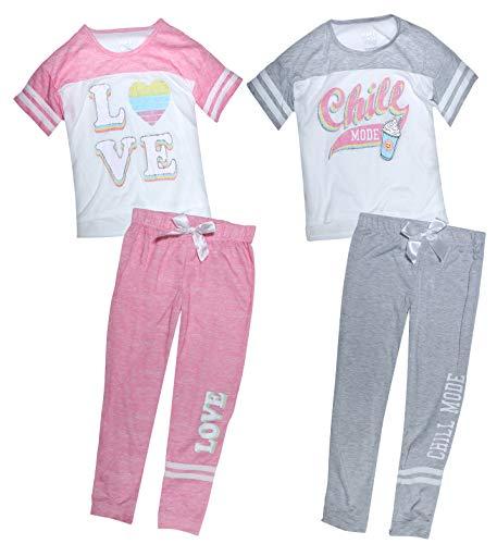 Sleep On It Girl\'s 4-Piece Summer Pajama Sleepwear Tank Top Pant Set (2 Full Sets) (Chill Mode, 7-8)' -