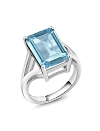 Gem Stone King Sterling Silver Sky Blue Topaz Women's Solitaire Ring 8.70 cttw Gemstone Birthstone 14X10MM Emerald Cut (Available 5,6,7,8,9)